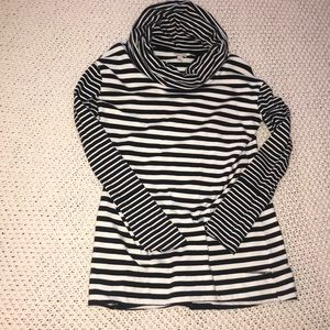 Navy and white striped cowl neck tunic